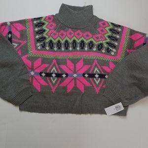 Planet Gold Cropped Mock Turtleneck Sweater